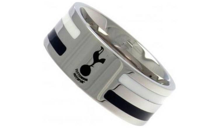 Stainless Steel Tottenham Hotspur Striped Ring - Size R