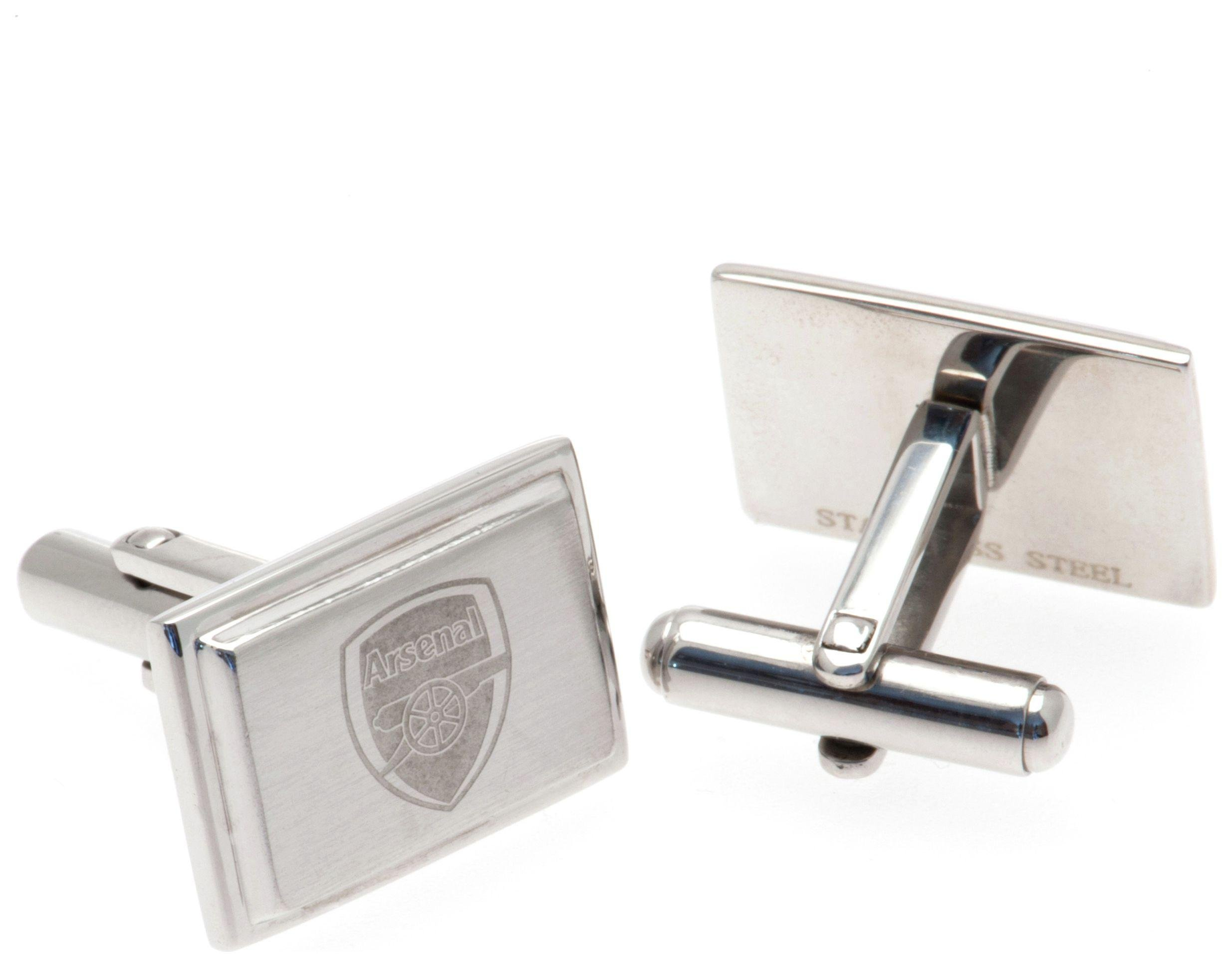 Image of Stainless Steel Arsenal Crest Cufflinks.