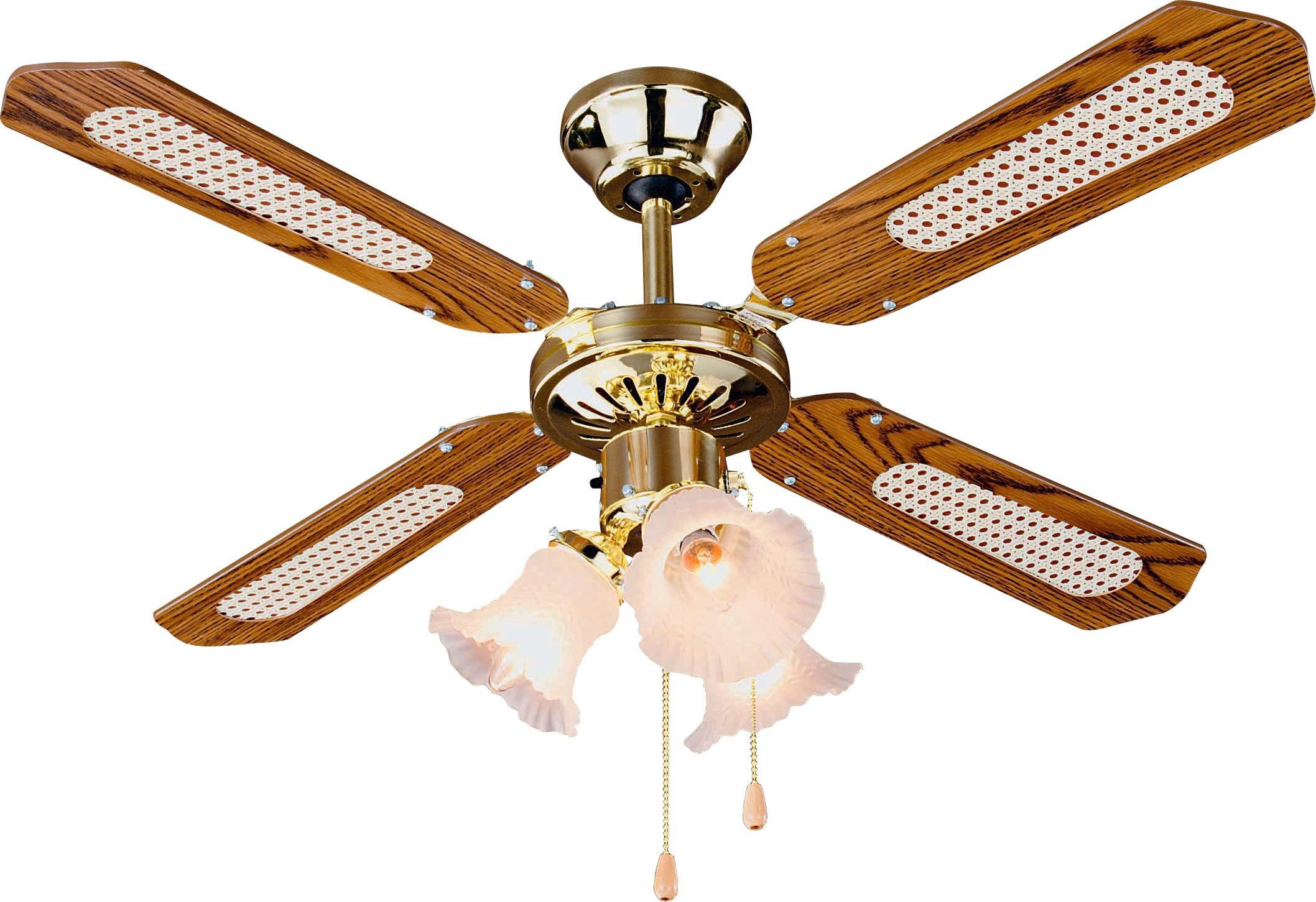 Argos Home Decorative 3 Light Ceiling Fan - Brass