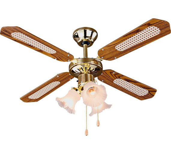Buy home decorative 3 light ceiling fan brass at argos for Geschenke fa r outdoorfans