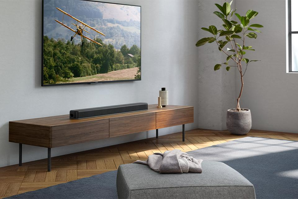 Image about a TV with a soundbar