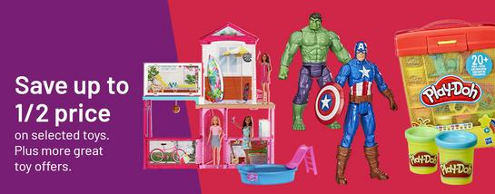 Save up to ½ price on selected toys. Plus more great toy offers.