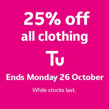 25% off all clothing.