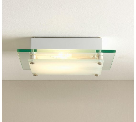 Buy Argos Home Square Glass Flush Ceiling Fitting White Ceiling - Kitchen light fixtures argos