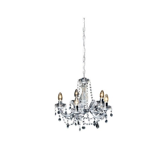 buy argos home inspire 5 light chandelier clear ceiling and wall