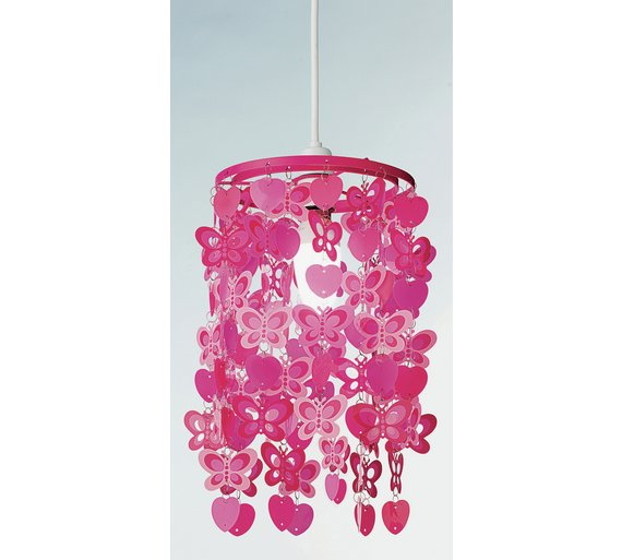 Buy home spotted butterfly pink light shade lamp shades argos click to zoom aloadofball Choice Image