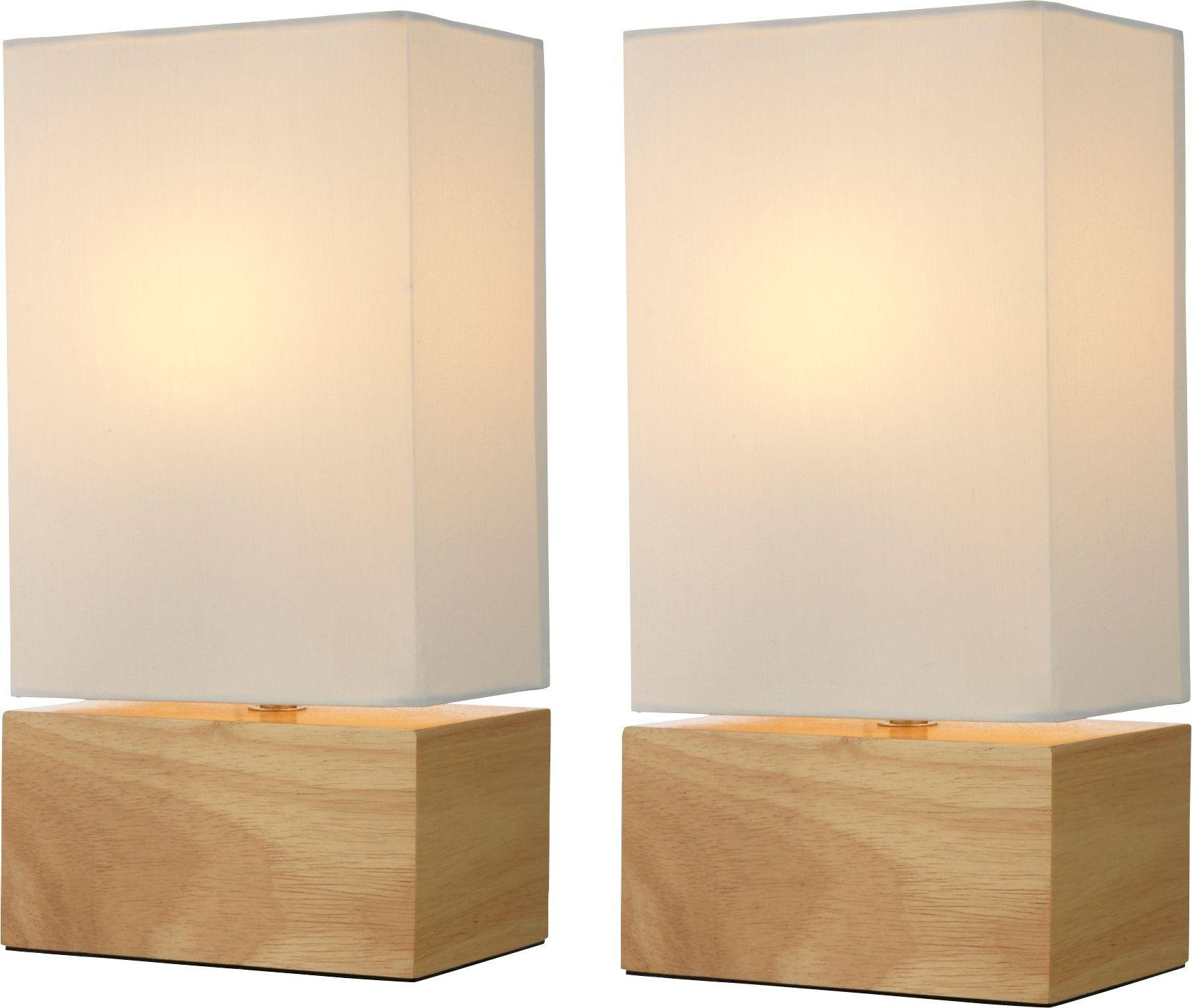 HOME Pair of Light Wood Finish Table Lamps - Cream.