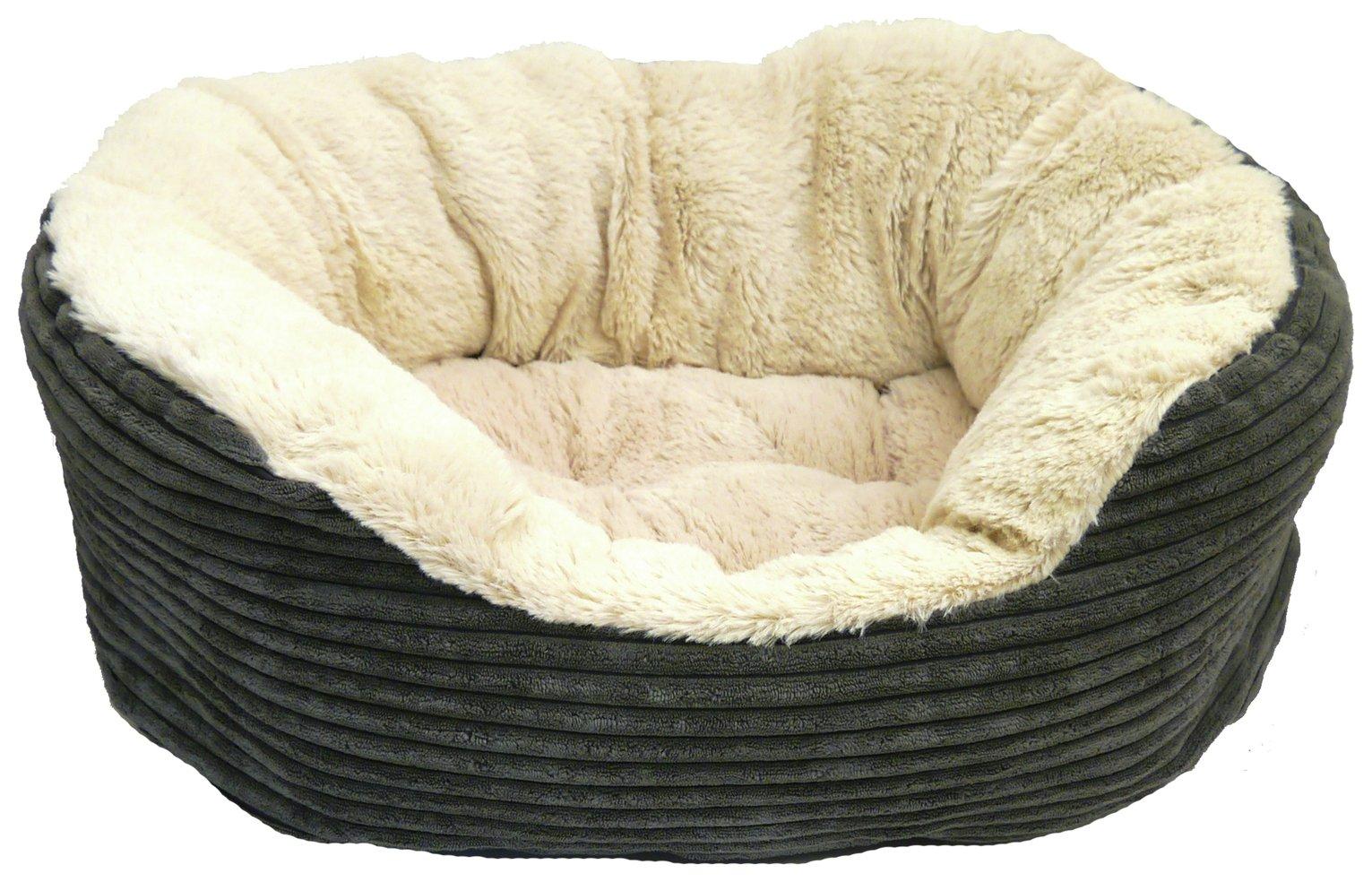 Jumbo Cord Plush Dog Bed - Small