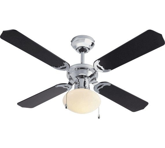 Home ceiling fan black and chrome