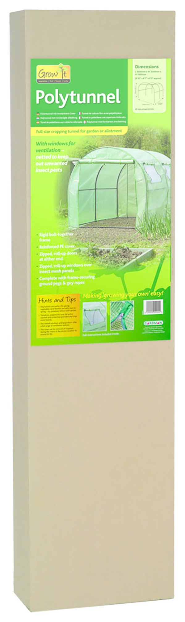 Gardman - Polytunnel with Reinforced Cover