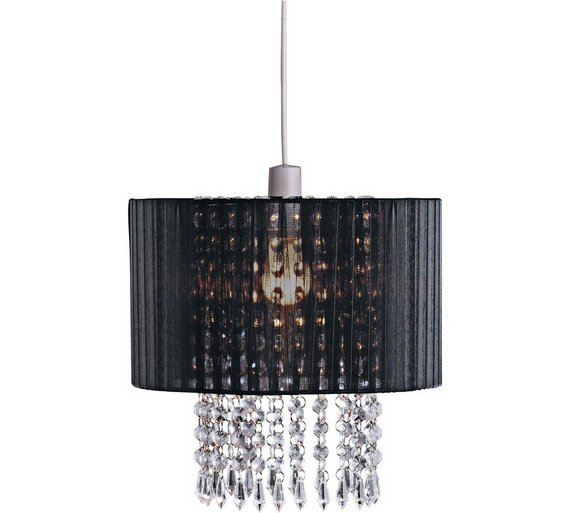 Lamp Shades At Argos: Collection Grazia Voile Droplets Shade - Black432/8692,Lighting