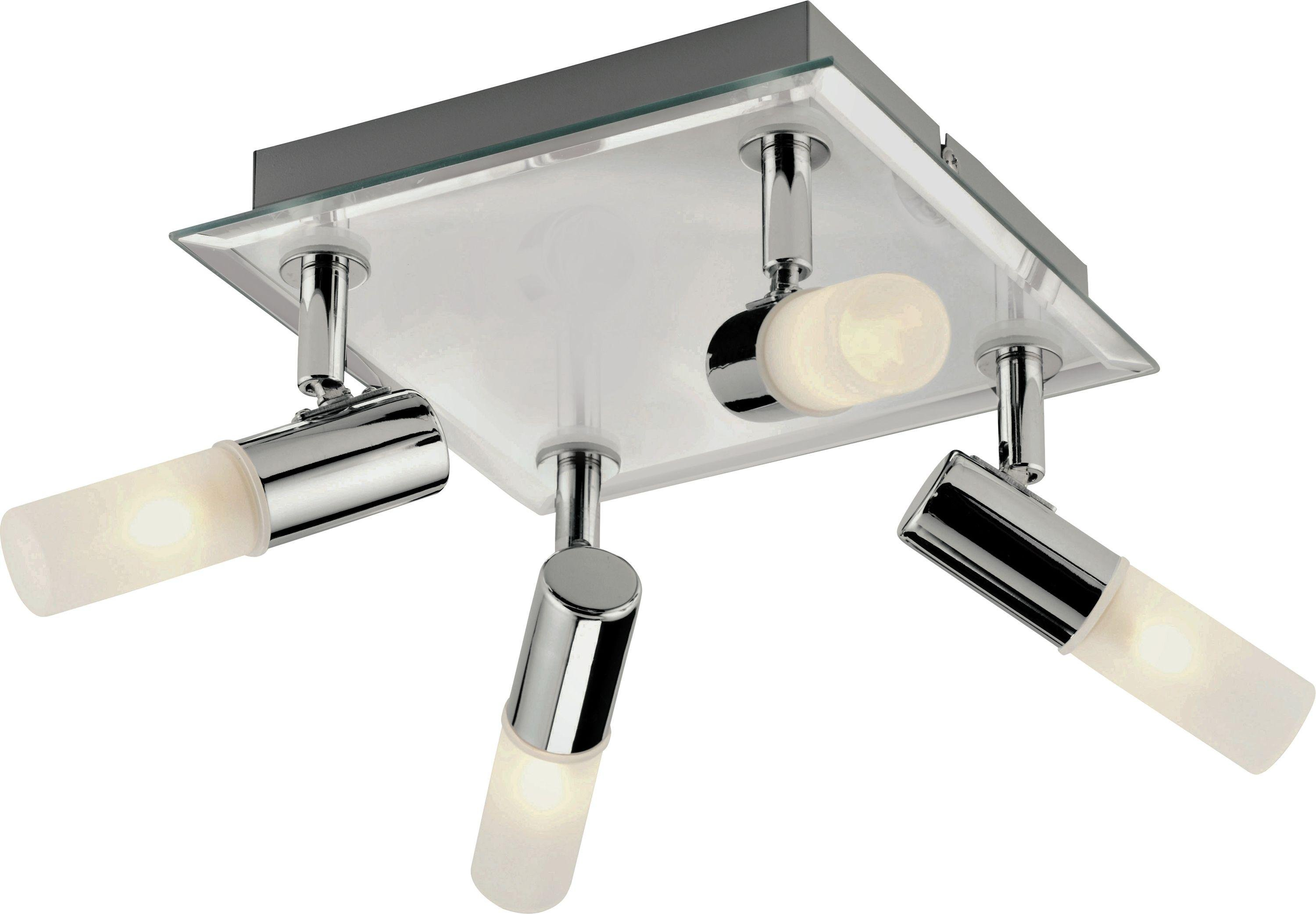 Bathroom Lights Square buy collection milano 4 light square bathroom spotlight - chrome