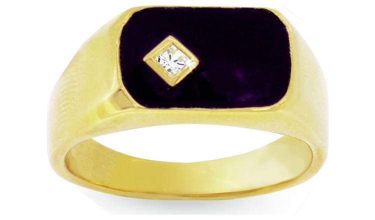 Revere Mens 9ct Gold Plated Silver Black Enamel  Ring - S