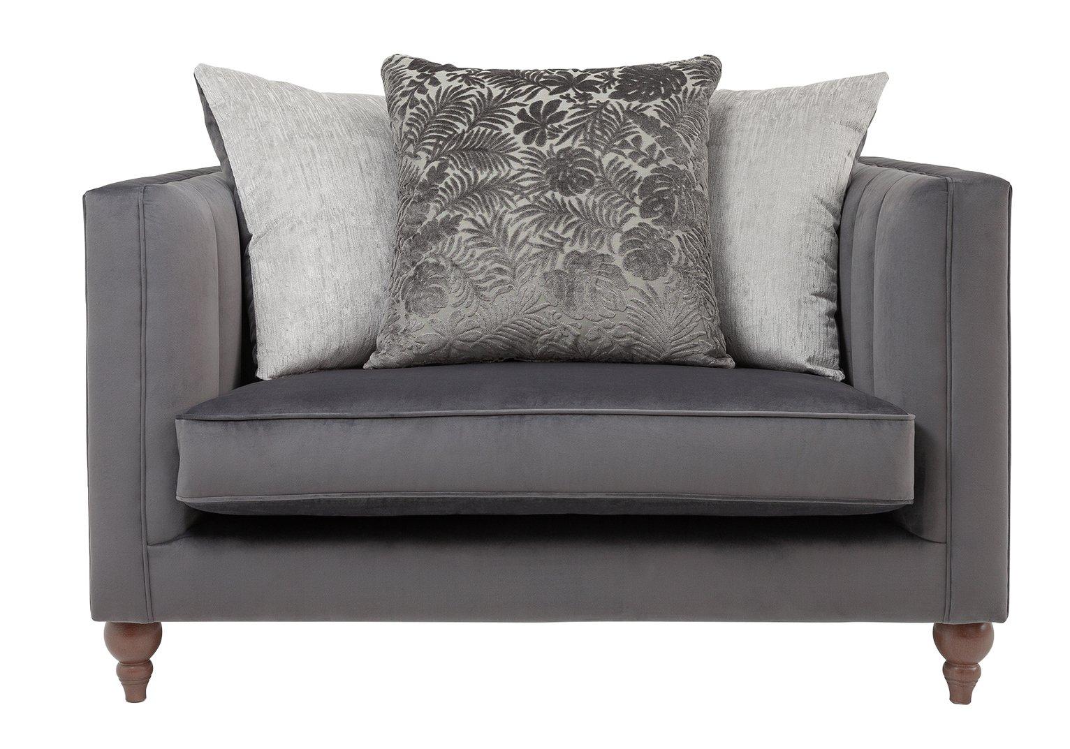 Argos Home Bardot Velvet Cuddle Chair - Charcoal