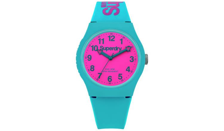 Superdry Ladies Teal Blue Silicone Strap Watch