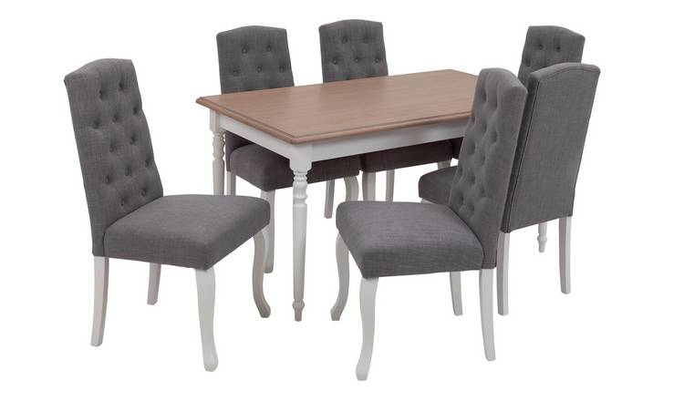 Argos Home Le Marais Oak Veneer Dining Table & 6 Grey Chairs