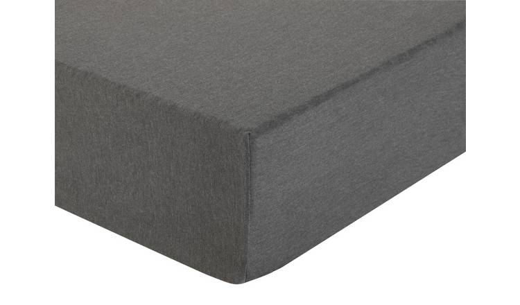 Argos Home Grey Jersey Marl Fitted Sheet - Double