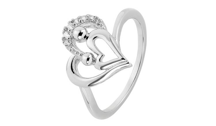 Moon & Back Sterling Silver Mother and Daughter Ring - N