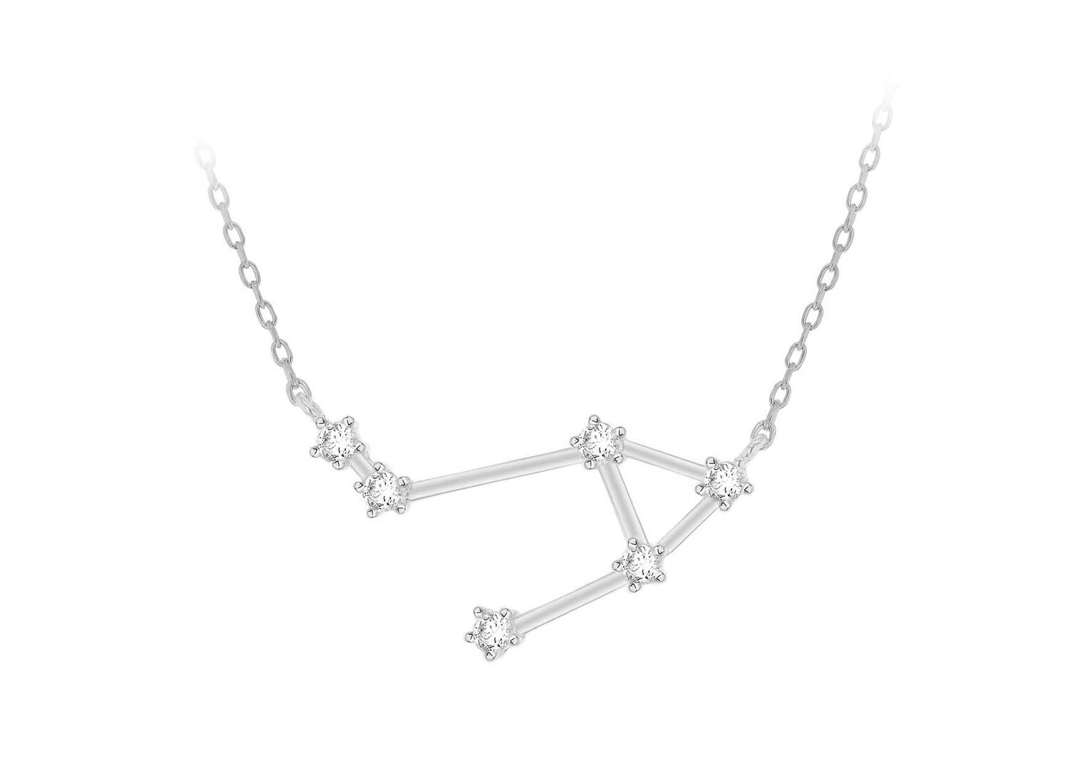 Sterling Silver Star Sign Pendant Necklace - Libra