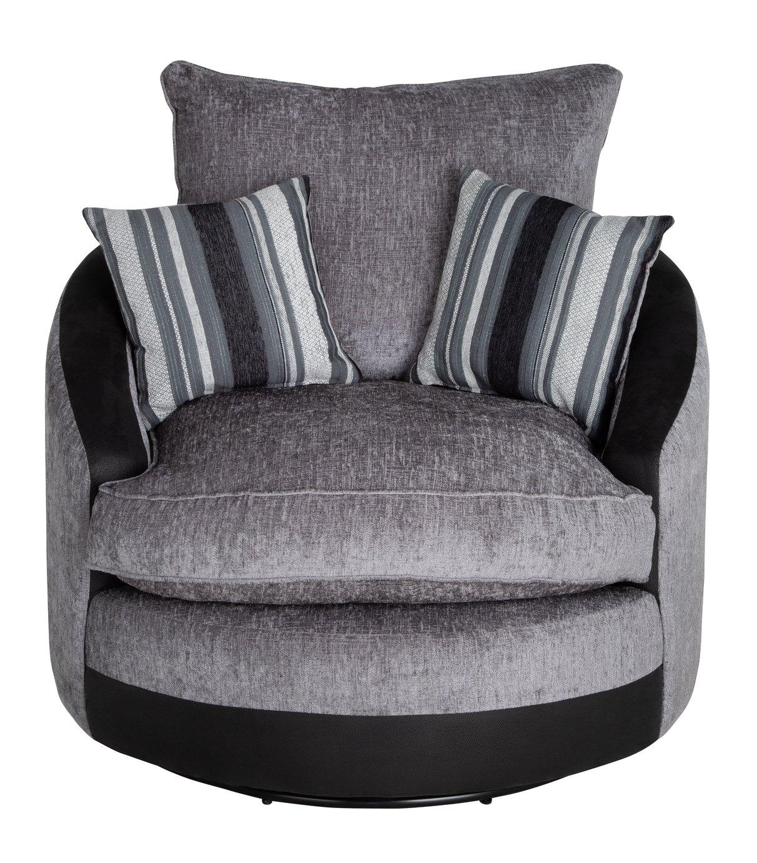 Argos Home Illusion Fabric Swivel Chair - Black & Grey