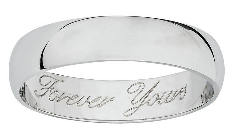 Revere 9ct White Gold Heavyweight Message Wedding Ring -M