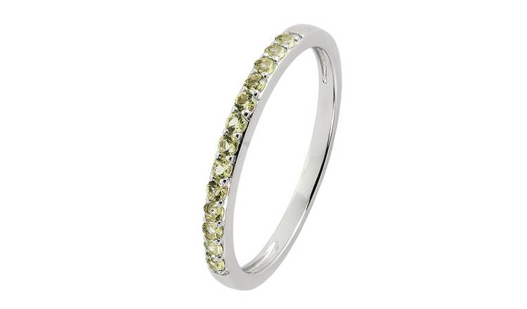 Revere Sterling Silver Green Cubic Zirconia Stack Ring - L