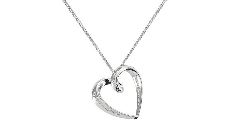 Moon & Back Sterling Silver Mum Heart Pendant Necklace