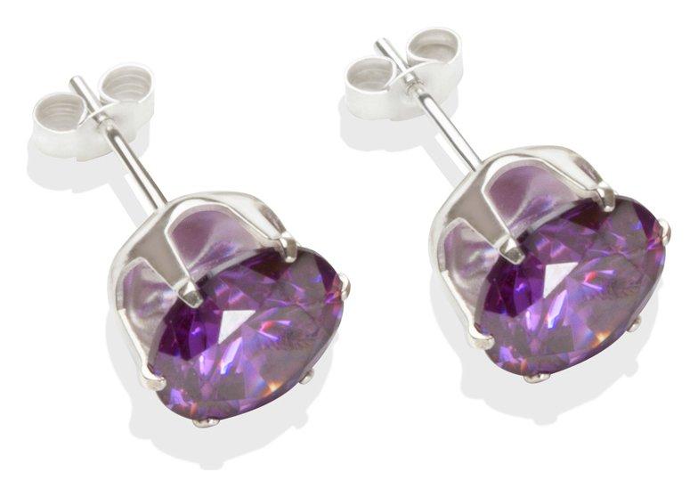 Sterling Silver - Amethyst Cubic Zirconia - Stud Earrings - 8mm.