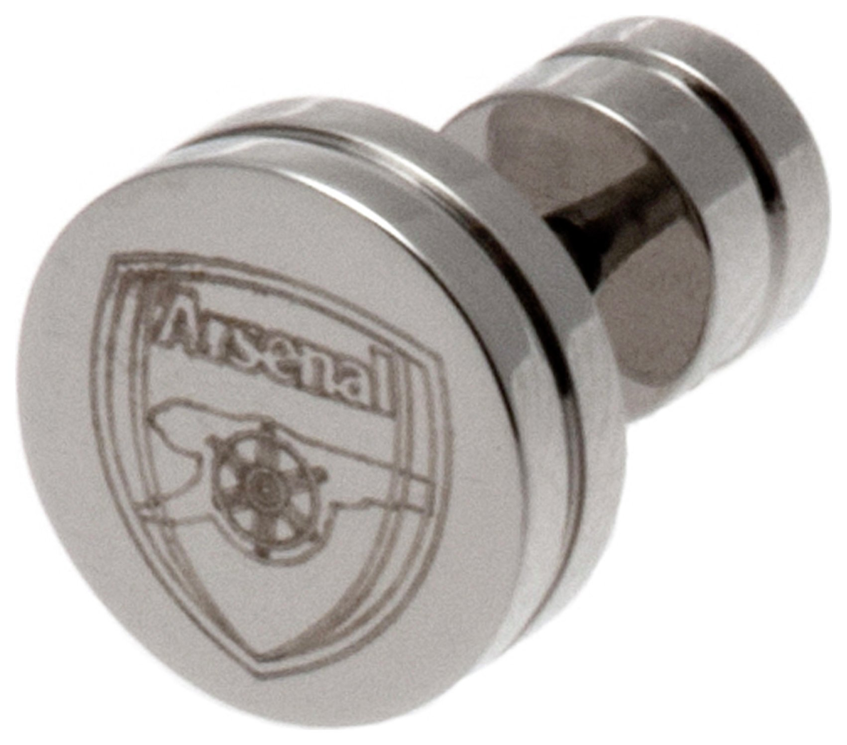 Image of Stainless Steel Arsenal Crest Stud Earring.