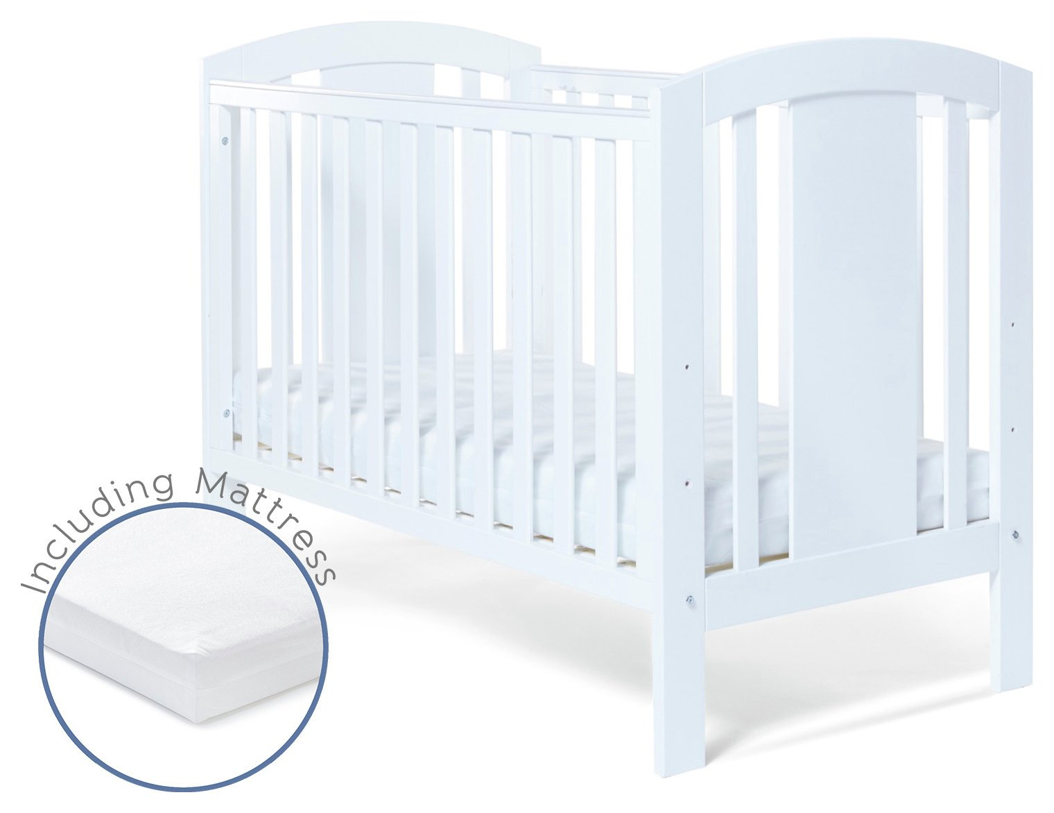 Image of Baby Elegance Laba - Cot with Mattress - White