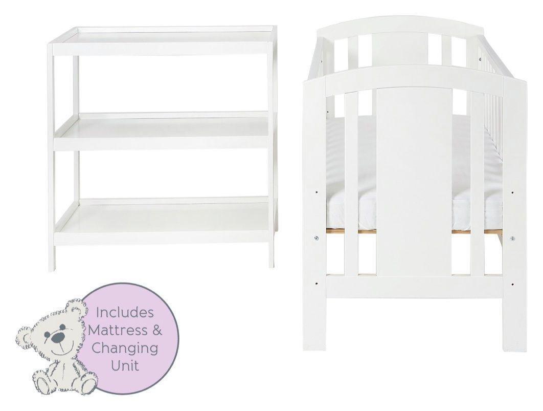 Image of Baby Elegance Laba Cot, Mattress and Changer Set - White.