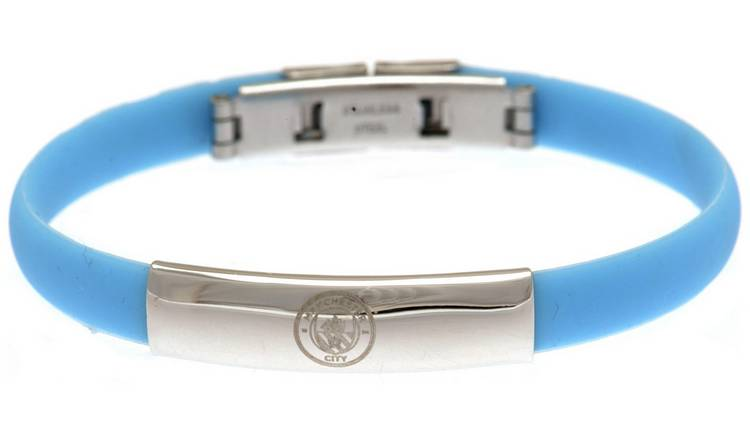 Stainless Steel and Rubber Man City Bracelet