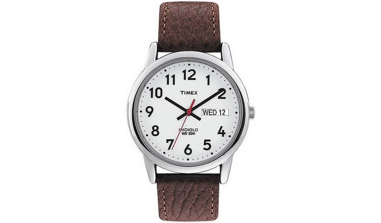 8a0e15852 Buy Timex Men's Easy Reader Brown Leather Strap Watch   Men's ...