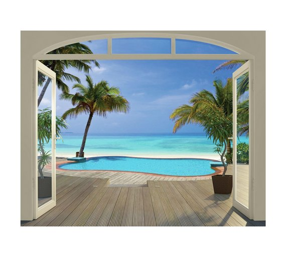 Buy walltastic paradise beach wallpaper mural at for Beach mural wallpaper