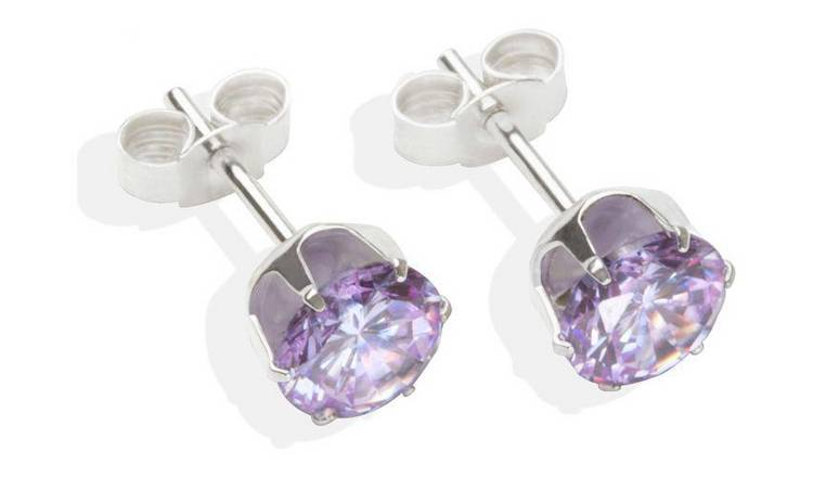 Sterling Silver Lilac Cubic Zirconia Stud Earrings - 6MM.