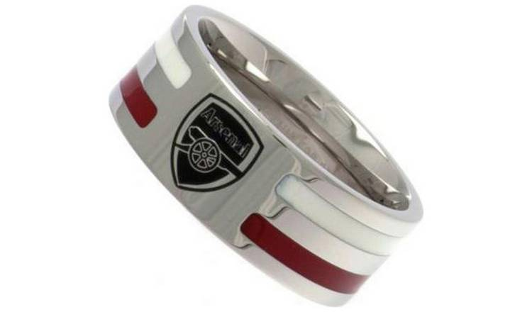 Stainless Steel Arsenal Striped Ring - Size U