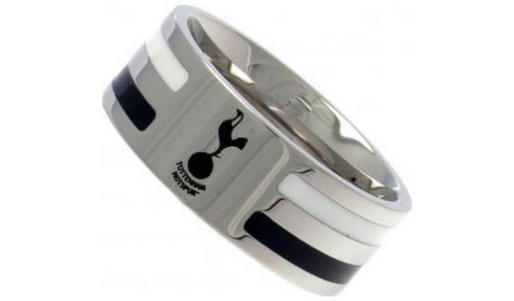 Stainless Steel Tottenham Hotspur Striped Ring - Size U