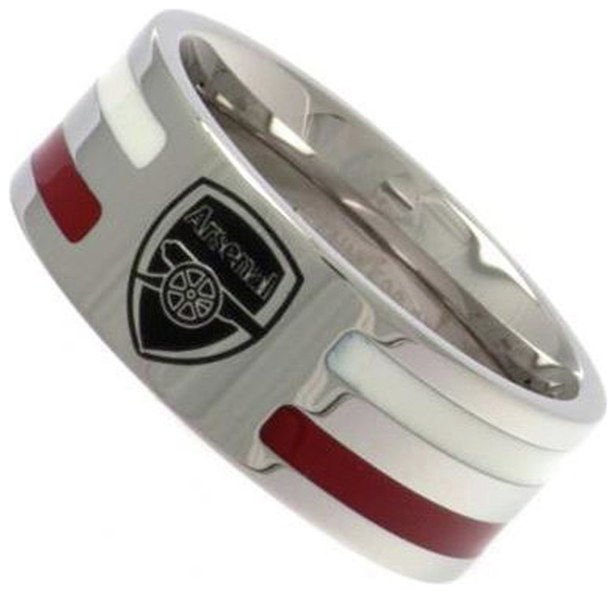 Image of Stainless Steel Arsenal Striped Ring - Size R