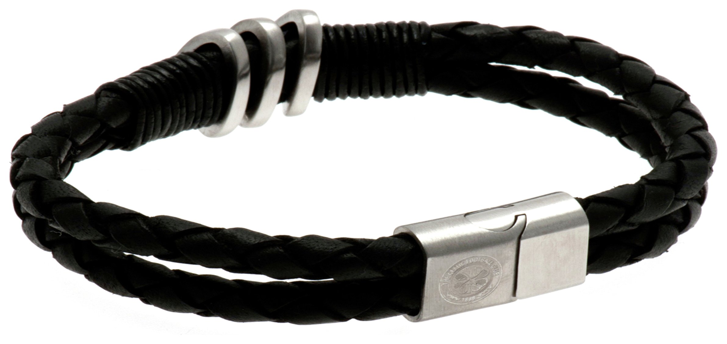 Image of Stainless Steel and Leather Celtic Bracelet.