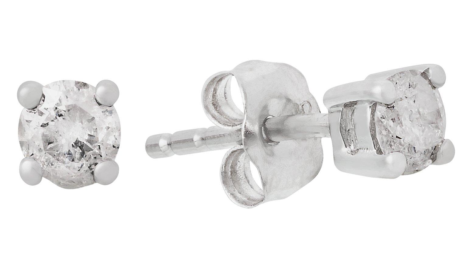 9 Carat White Gold - 0.25 Carat Diamond Solitaire - Stud Earrings.
