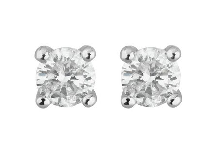 Cut out image of a pair of 9ct White Gold 0.25ct Diamond Solitaire Stud Earrings.