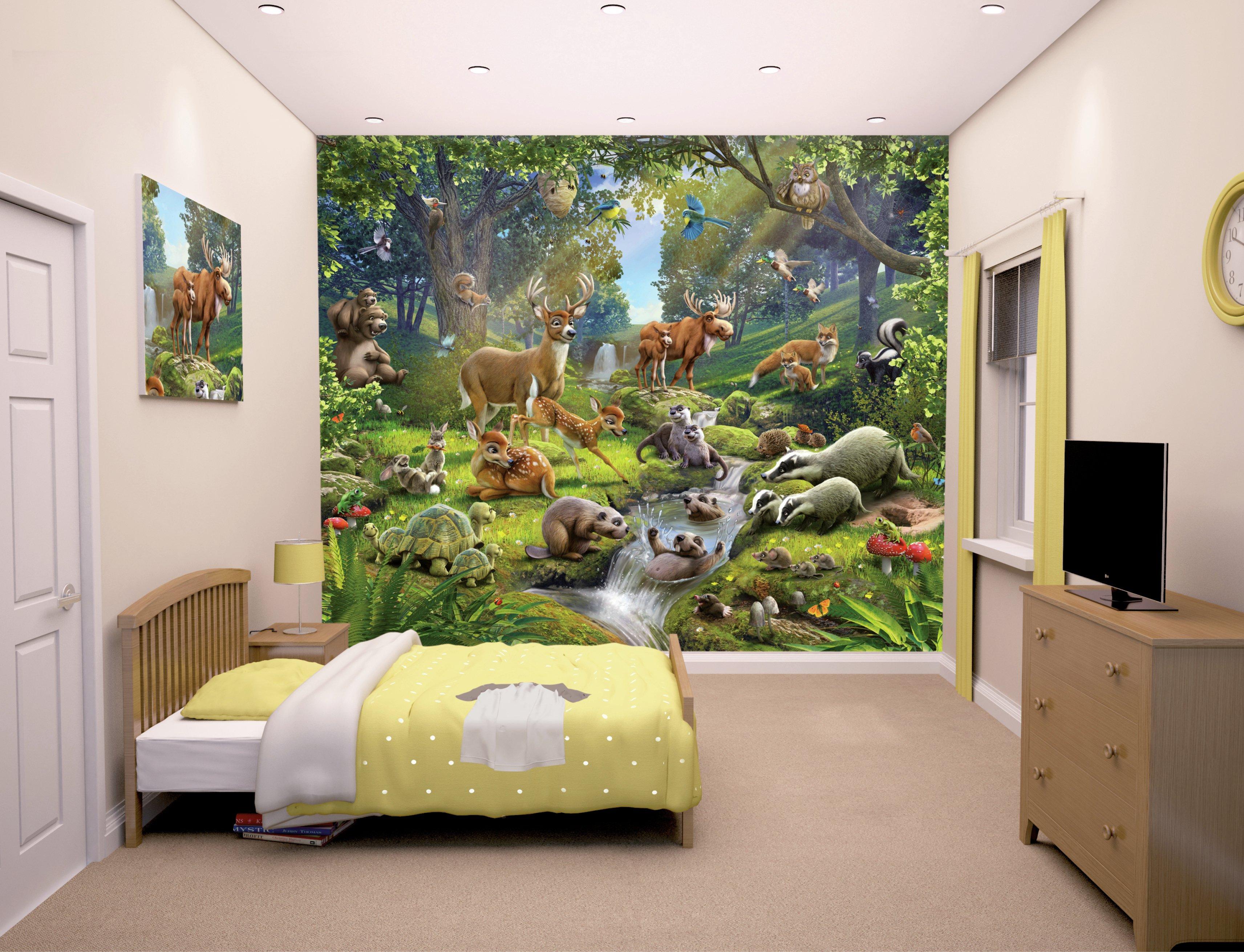 walltastic animals of the forest wallpaper mural