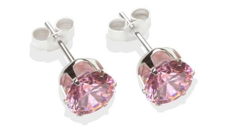 c837ee923bf7e Buy Sterling Silver Pink Cubic Zirconia Stud Earrings - 7MM | Womens  earrings | Argos