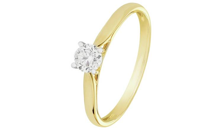 Revere 9ct Gold 0.33ct Diamond Solitaire Ring - O