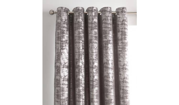 Argos Home Velvet Lined Eyelet Curtains - Grey