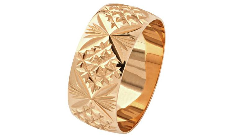 Revere 9ct Gold Diamond Cut Wedding Ring - 8mm - L