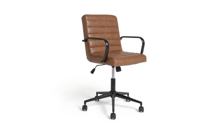 Argos Home Alvar Faux Leather Office Chair - Tan