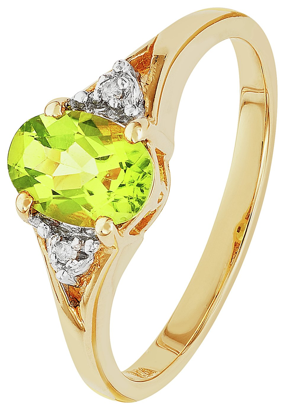 Revere 9ct Gold Peridot and Diamond Accent Oval Ring