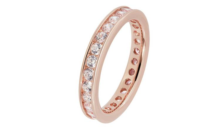 Revere 9ct Rose Gold Plated Full Eternity Ring - O