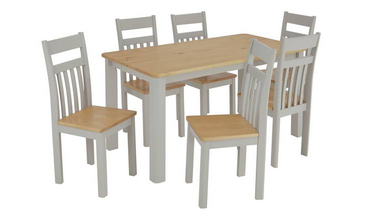 Argos Home Bournemouth Solid Wood Table & 6 Two Tone Chairs